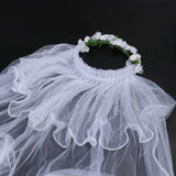 Flower Girl Veils Two Layers White Wedding Communion Hair Wreath (White)