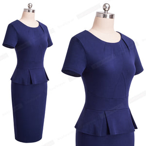 Vintage Elegant Pure Color, Sheath Women Dress