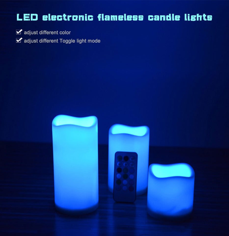 3pcs RGB Led Flameless Candles Lamp Remote control Flickering