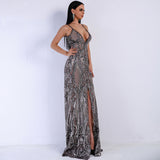 V-neck Off Shoulder Middle Split Women Dress Sequin