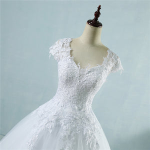 Lace White Ivory Short Sleeve Wedding Dress