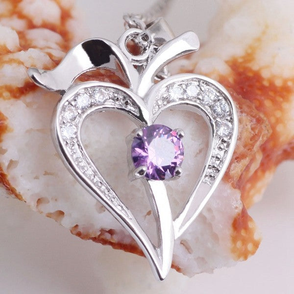 Necklace Women Heart White/Purple Vintage Silver Necklaces & Pendants Neckless Gift