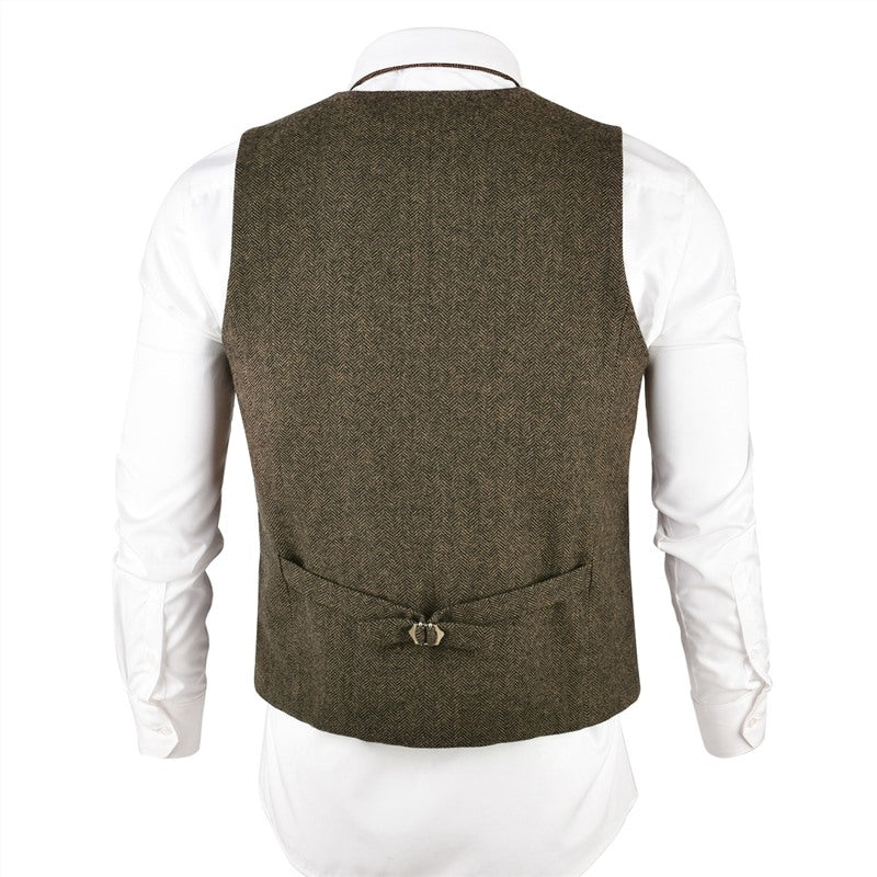 Khaki Wool Tweed Mens Slim Fit Vest