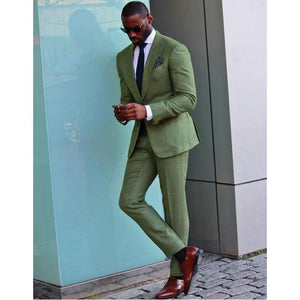 Army Green Men Suit (Jacket+Pants+Tie)