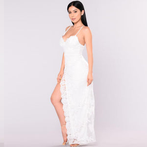 White Lace Long Slit V Neck Spaghetti Strap Dress