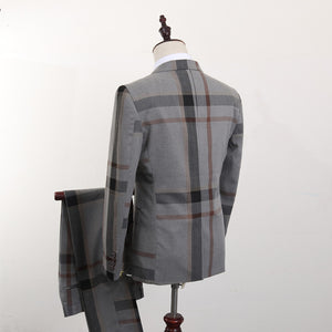 Plaid 3 PCS Fashion Slim Fit Mens Suit