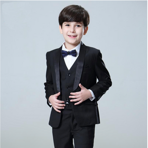 Kids 5 peace Set Boys  Black Wedding Suit