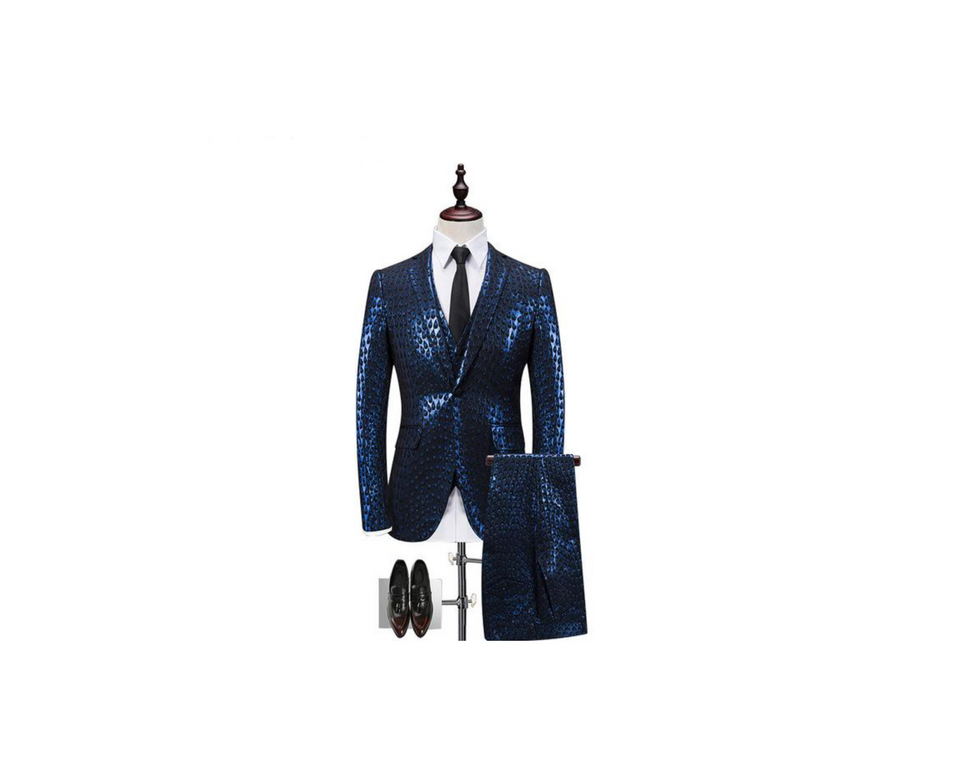 Gold Blue Tuxedo Slim Fit 3pcs Jacket+Vest+Pant Suit