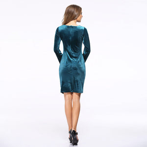 Long Sleeve Velvet Ruched Slim  Sheath Dress