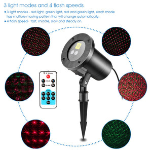 Waterproof Remote Control Laser Lawn Lamp Red and Green Firefly Light