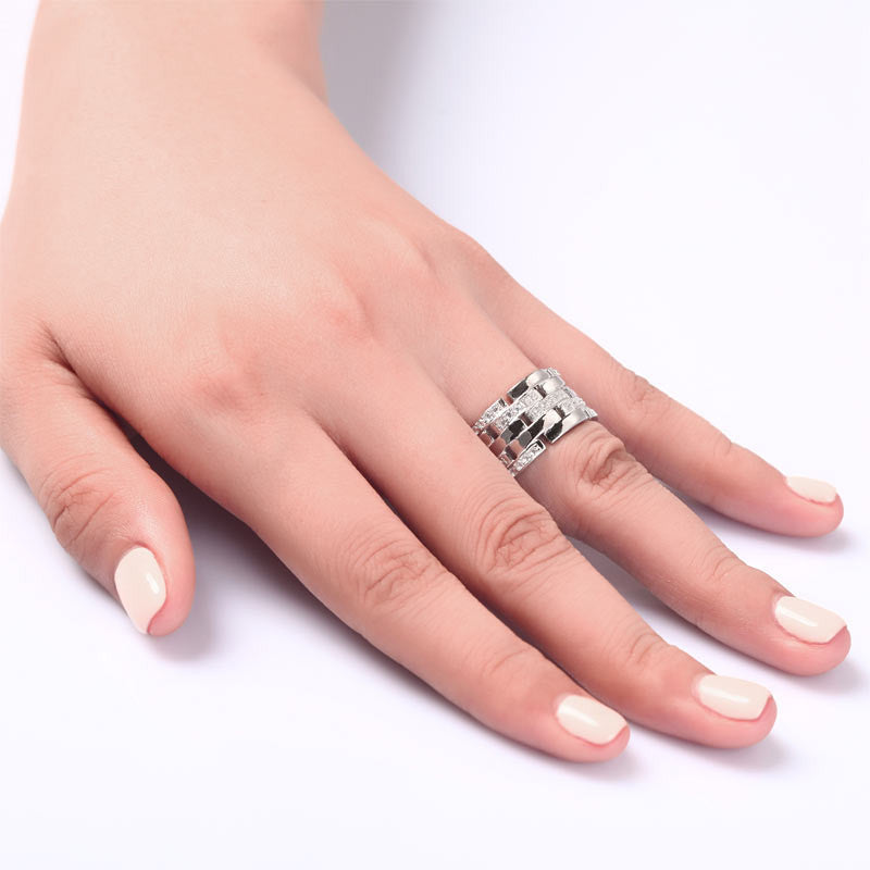 Sterling Silver 1 cm Women's Wedding Band Ring