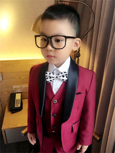 Red and Blue Boy Slim Fit Tuxedo (Jackets+Vest+Pants)