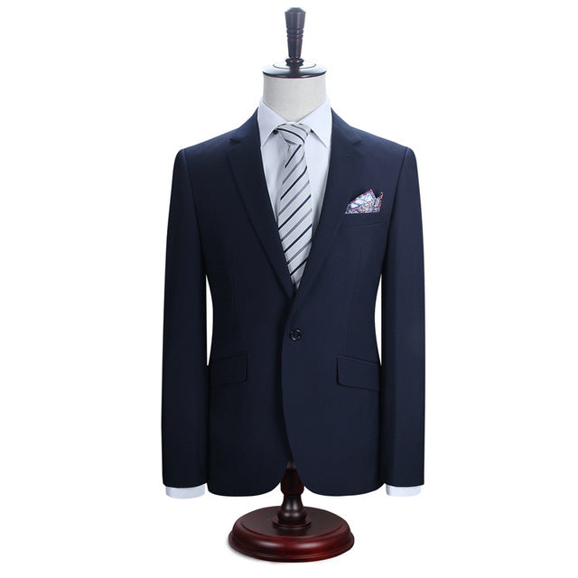 Men Suits Blazer With Pants Slim Fit Casual One Button Jacket