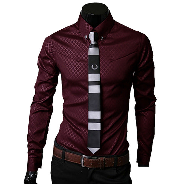 Men Plaid Shirts Brand Dress Shirts