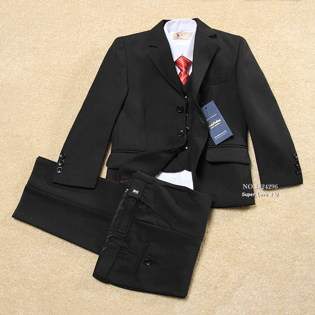 Kids Solid Black Formal Wedding/Tuxedo Boys