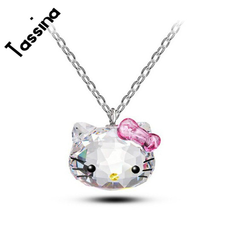Silver color Korea KT Crystal Cute hello kitty bow Cat Necklaces Pendants