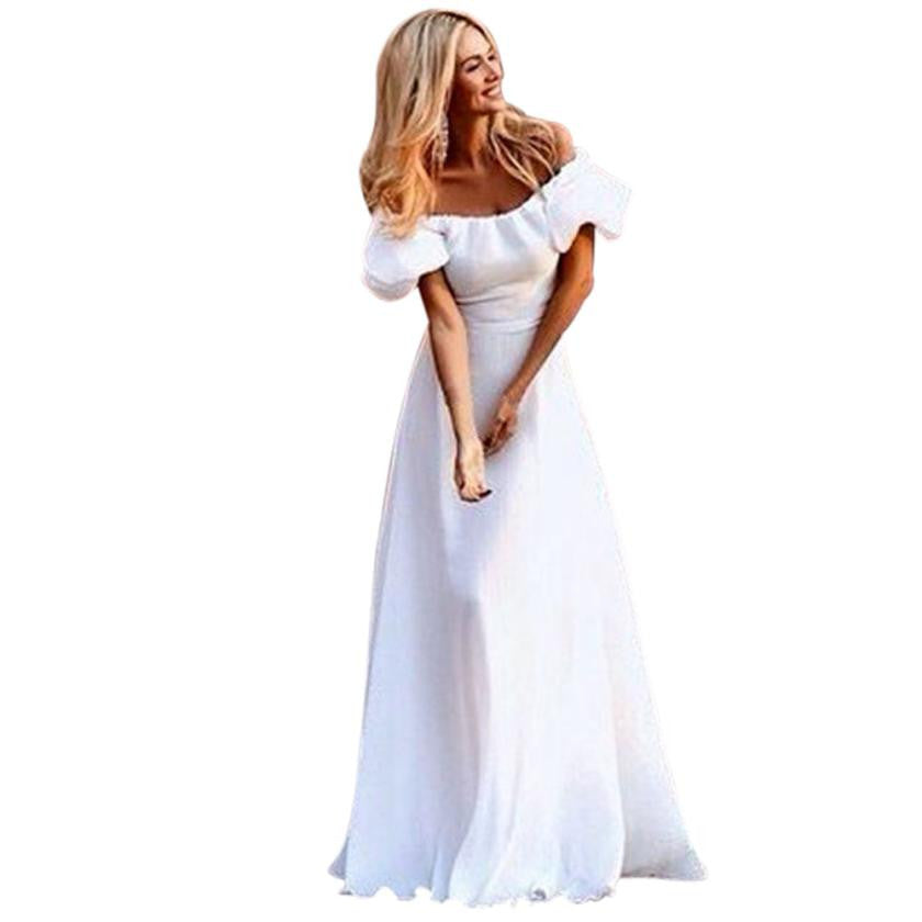 White Summer Dress Women Sexy Off Shoulder Maxi Boho Solid