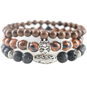 New Map Natural Stones Hematite Lava Handmade Beaded Men Bracelets