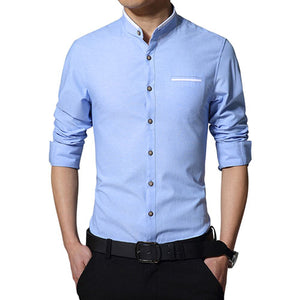 Casual Long Sleeve Mandarin Collar Slim Fit Shirt