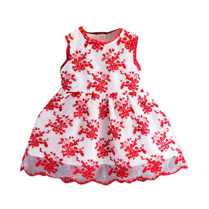 Infant Girl Summer Dress with Floral Print Embroidery Lace