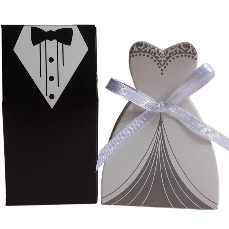 Tuxedo Dress Groom Bridal Wedding Party Favor Gift Ribbon Candy Boxes