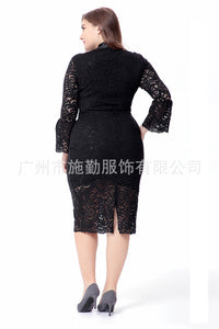 Fashion Women Long Mandarin Sleeve Full Lace