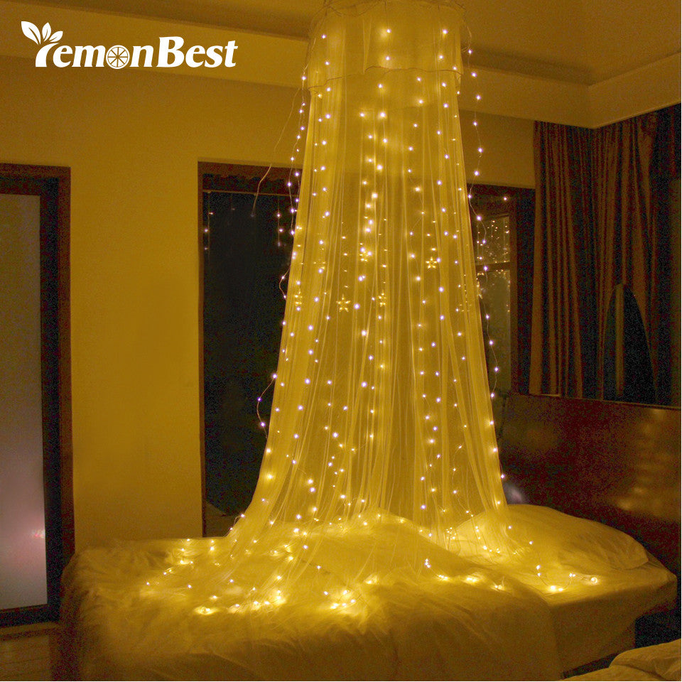LED Lights Outdoor Indoor Fairy Curtain String Lamp with Pendant