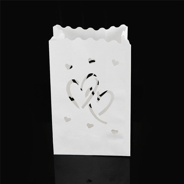 Wedding Heart Tea Light Holder Luminaria Paper Lantern Candle Bag