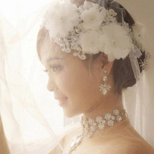 Handmade Tiara Wedding Bridal Floral Lace Pearl Headpiece Hairpin