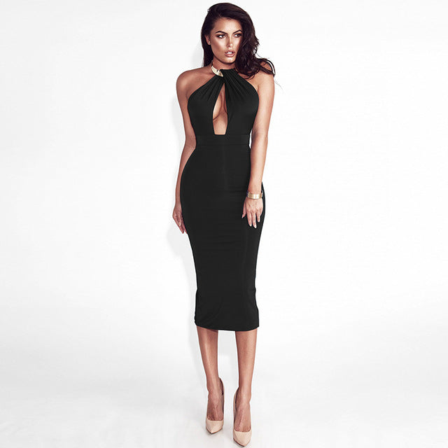 Articat Off Shoulder Choker Long Pencil Sexy Backless Split Winter Dress