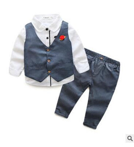 Infant Boys 3 piece Blazer Suit (Vest + shirt + pants)