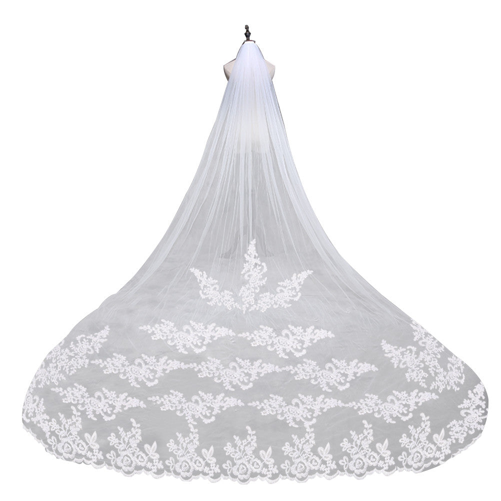 Embroidery Lace Edge Bridal Wedding Veil Mantilla with Comb