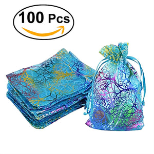 100pcs Blue Organza Drawstring Pouches Jewellery Bags Candy Pouch