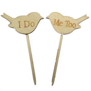 2pcs I DO ME TOO Love Birds Wedding Engagement Wooden Cake Topper Photo Props