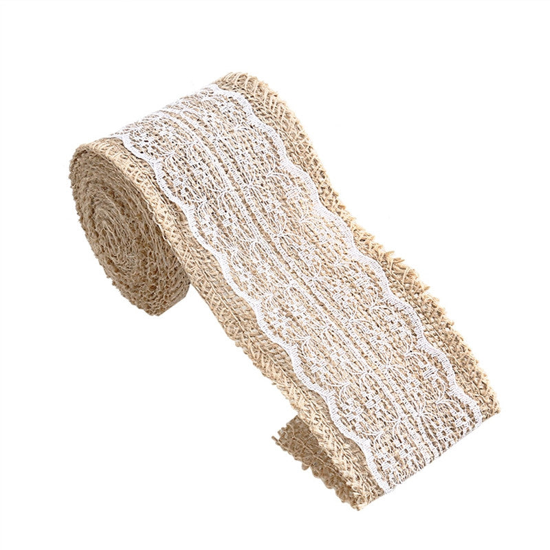 2M*6CM Burlap Beige Lace Craft Ribbon for Craft Wedding Home Decor