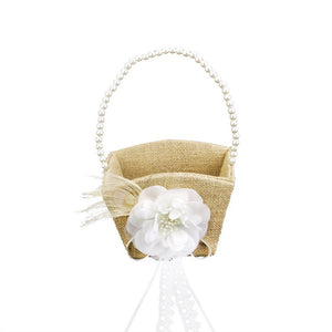 Vintage Pearl Ribbon Flower Decorated Burlap Flower Girl Basket