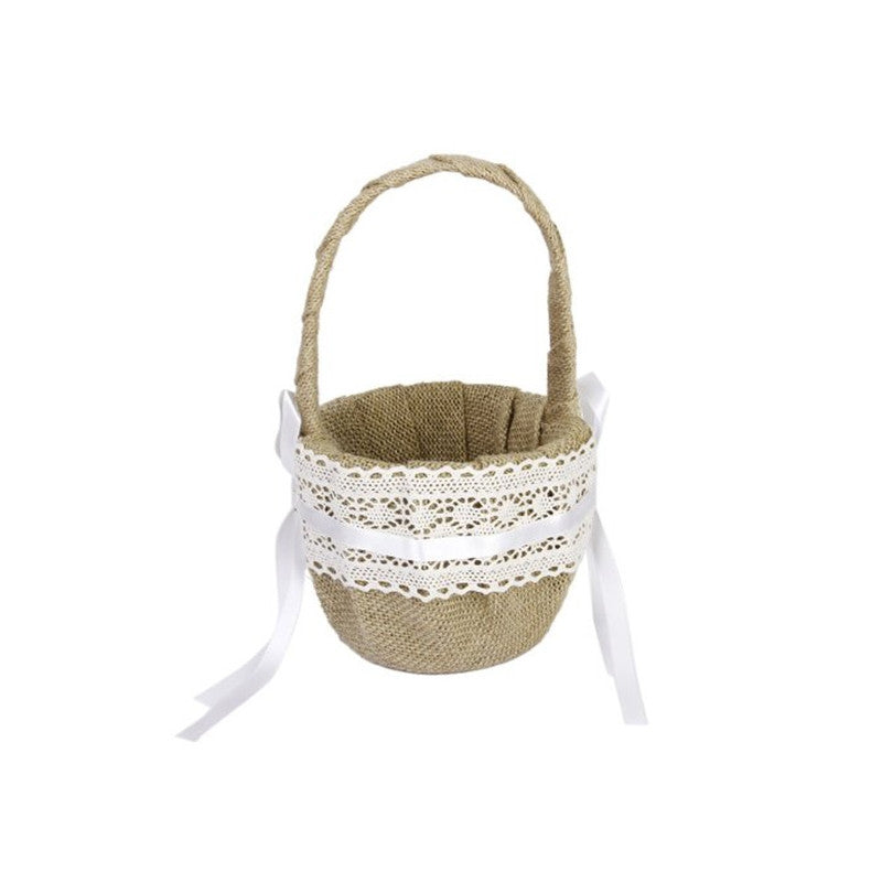 Delicate Lace Ribbon Decorated Burlap Flower Basket for Wedding Ceremony Party