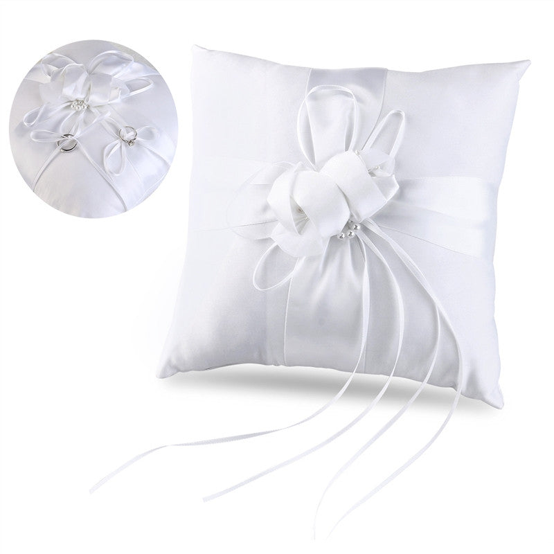 Flower Buds & Faux Pearls Decor, Pocket Ring Pillow Cushion Bearer