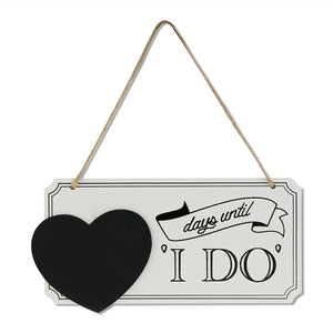 "Days until I DO"" Wooden Chalkboard Sign Wedding Countdown Sign"