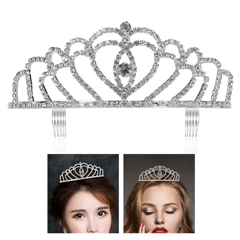 Bling Rhinestone Bridal  Crown Headpiece Crystal Queen Tiara with Comb
