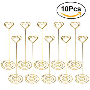 Place Card Holder Heart Shape Picture Stand Note Wedding Clip 10pcs