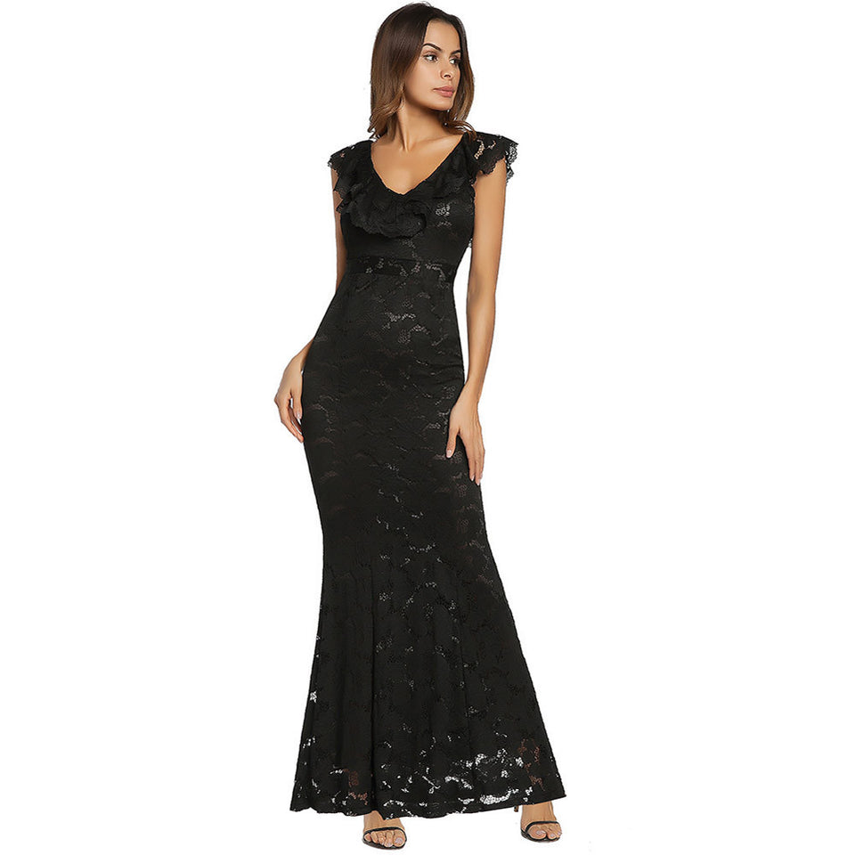 Sleeveless Floral Lace Formal Long Evening Party Ball Prom Gown Dress