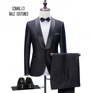 Tuxedo Slim Fit Shawl Lapel Double Breasted Blazer Suit