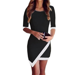 Bandage Bodycon Irregular Mini Dress BK/S