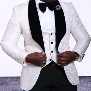 Tuxedos Black /White Men Suits (Jacket+Pants+Vest)