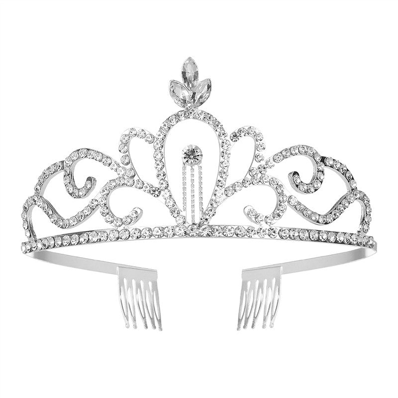 Elegant Bridal Crystal Rhinestones Tiara Crown with Comb