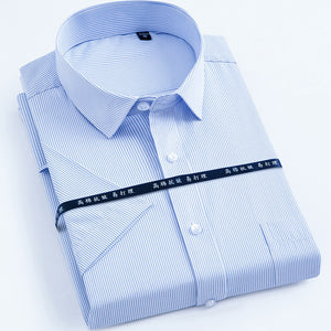 Short sleeve striped / twill Men's casual Slim shirt