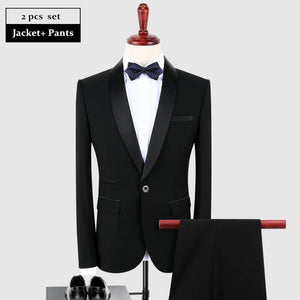 Black Slim Fit Suits Shawl Collar With Pants