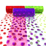 15cm x 10yards Glitter Tulle Organza Roll Fabric Round Dot For Table Runner