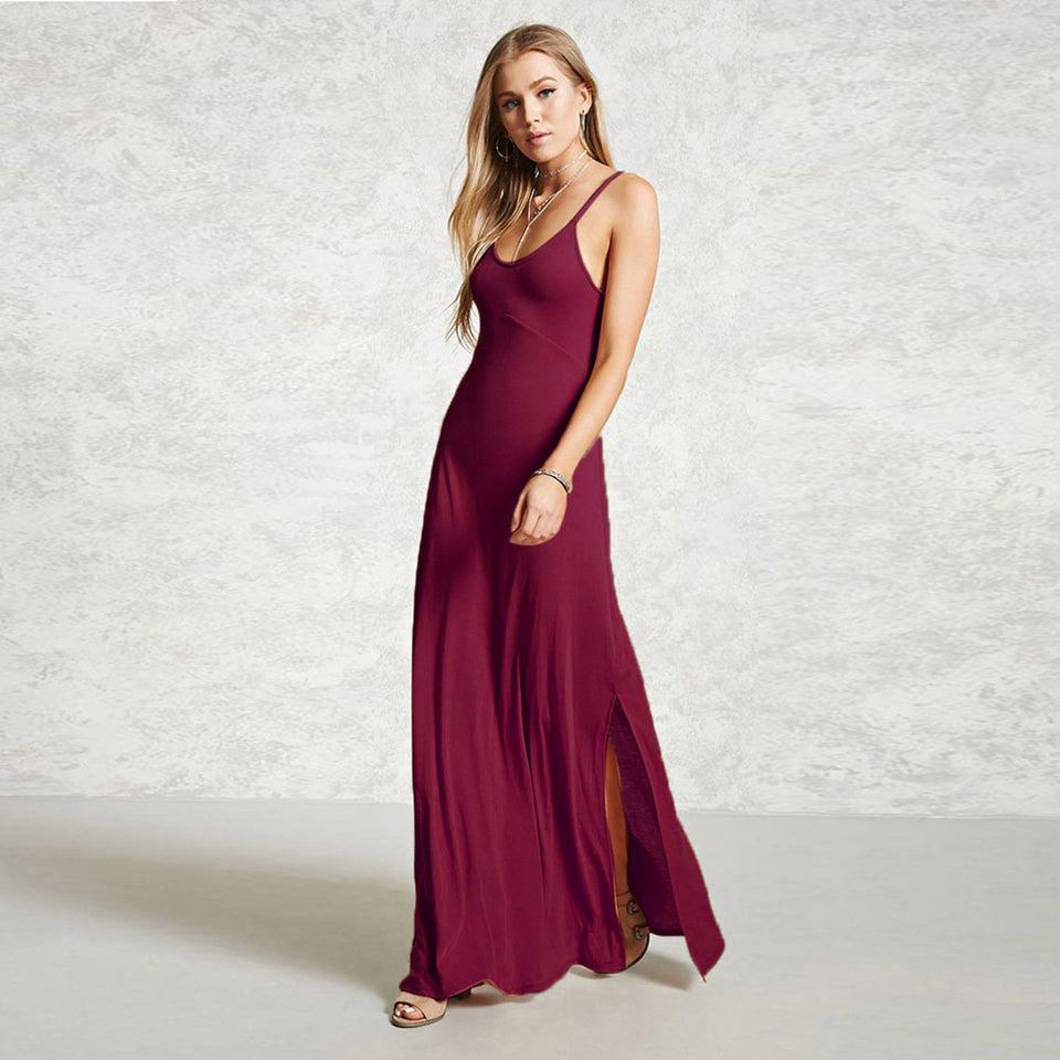 Casual  Sleeveless V Neck Solid Evening Maxi Dress